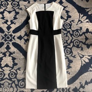 CALVIN KLEIN Black and Ivory Colorblock Dress 2